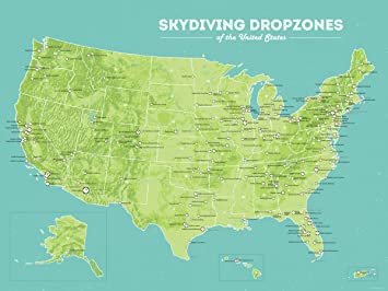 Amazon US Skydiving Dropzones Map 18x24 Poster Green & Aqua