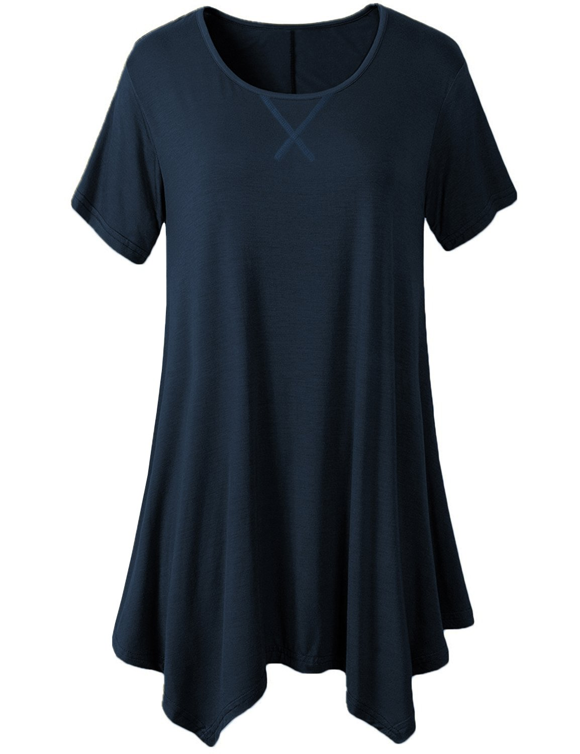 ARCITON Women's Summer Loose Fit Short Sleeve Swing Tunic Tops Casual V-Notch T-Shirts Navy Blue XL