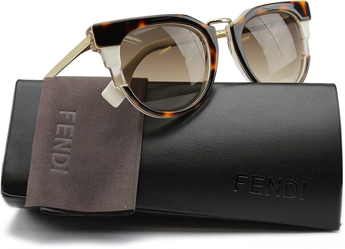 7b2bbe3469e FENDI FF0063 S Metropolis Sunglasses Havana Beige Gold w Brown Gradient  (0MUV) 0063 MUV CC 50mm Authentic  Amazon.co.uk  Clothing