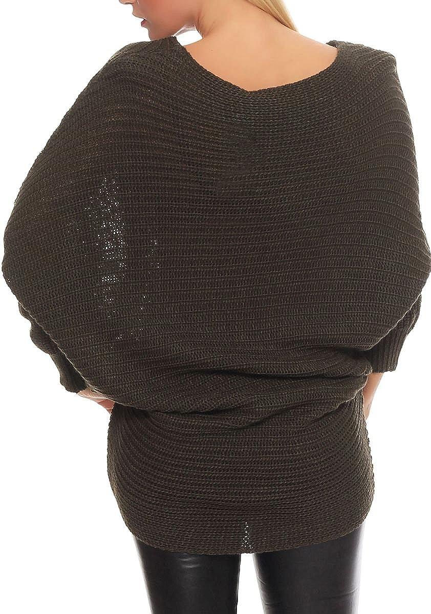 Malito Maglione nella Basic-Look Gilet Giacca Bolero Poncho Oversize Cardigan Casual 7325 Donna Taglia Unica