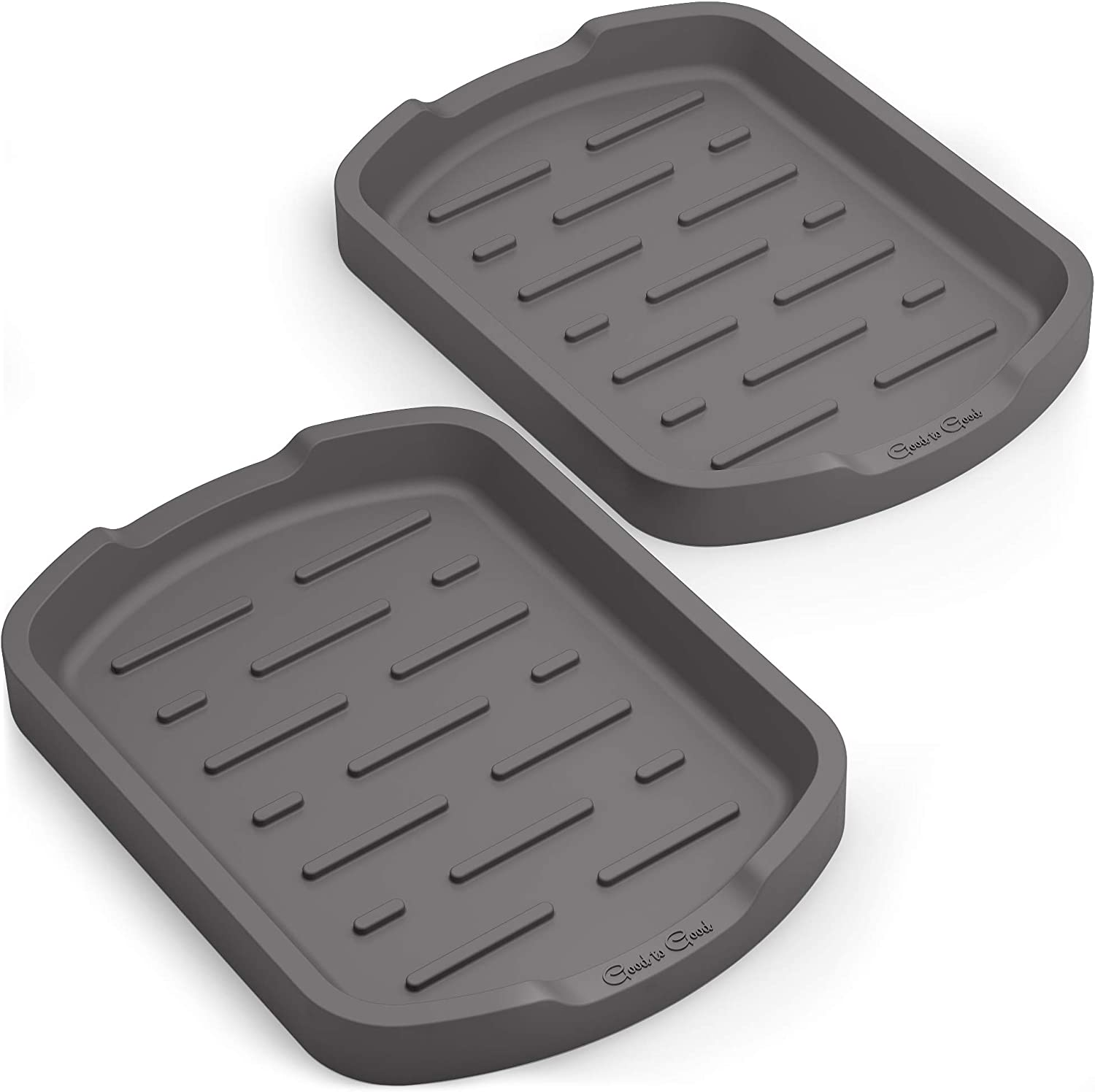 Good to Good Silicone Organizer Tray Set of 2 - Multipurpose use like spoon rests, kitchen sponge holder, bathroom soap dishes, cooking utensils rest - Grey