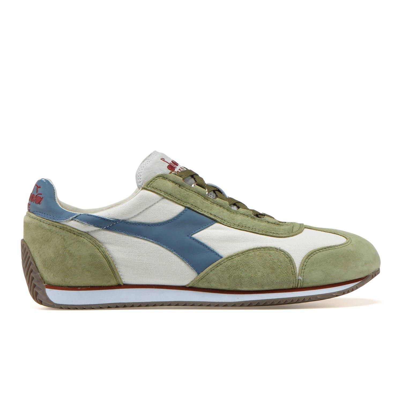 Diadora Heritage - Sneakers Equipe Stone Wash 12 para Hombre y Mujer EU 43 - US 9.5 - UK 9 (cm 27.5)|C7439 - Blanco-verde Hierba Seca