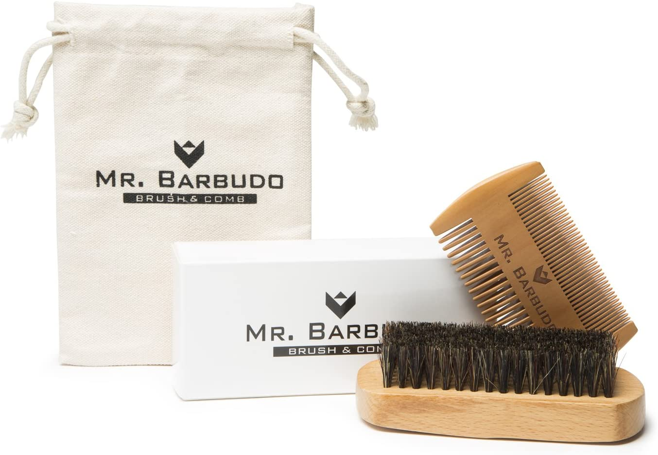 Mr. Barbudo Cepillo Para Barba Cerdas de Jabalí y Peine a Juego Con Bolsa Estuche Premium