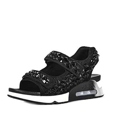 3068b5ceaf16 Ash LULLASTONES Trainer Sandals Black Lace Satin   Gemstones 41 Black