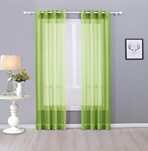 """Interior Trends Ariana 2 Piece Sheer Voile Fully Stitched Window Panel Curtain Drape Set with Grommets (84"""" Length, Lime Green)"""