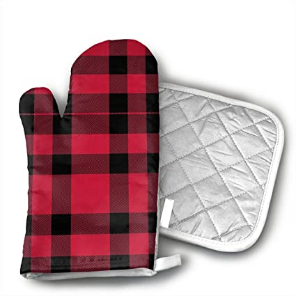 b17e98e7c67 Amazon.com  Fechahao Buffalo Check Pattern Oven Mitts with Quilted ...