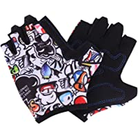 ITODA Kids Children Cycling Gloves Adjustable Half Finger Mitts Breathable Non-slip Fingerless Gloves Riding Mitten Professional Gloves for Outdoor Riding Bike Roller Blading Rock Climbing