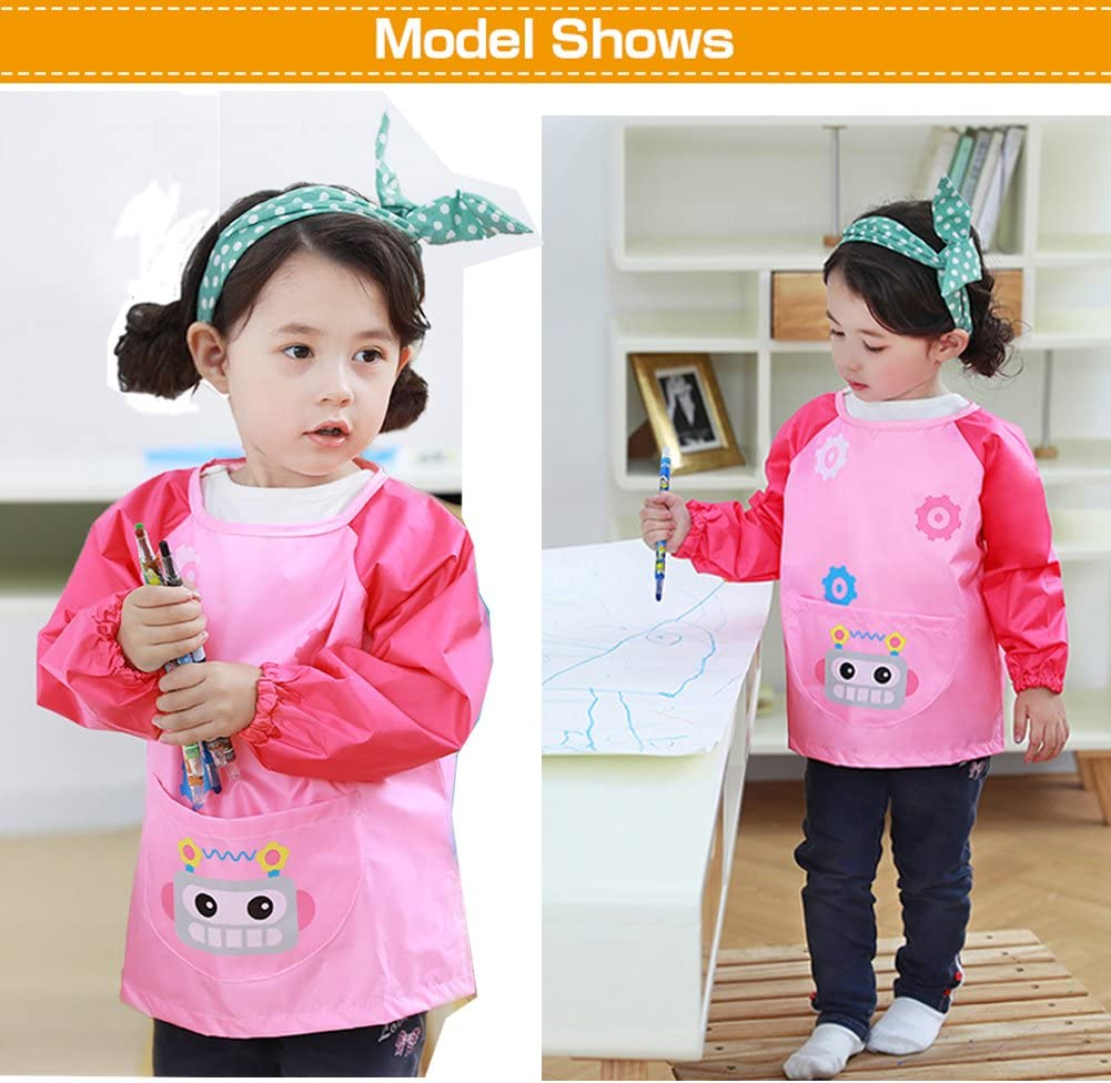 Ages 9-12 Pens and Brushes Not Included Creation Core Children Waterproof Art Smock Long Sleeve Kids Art Aprons Bib for Painting Pink XL