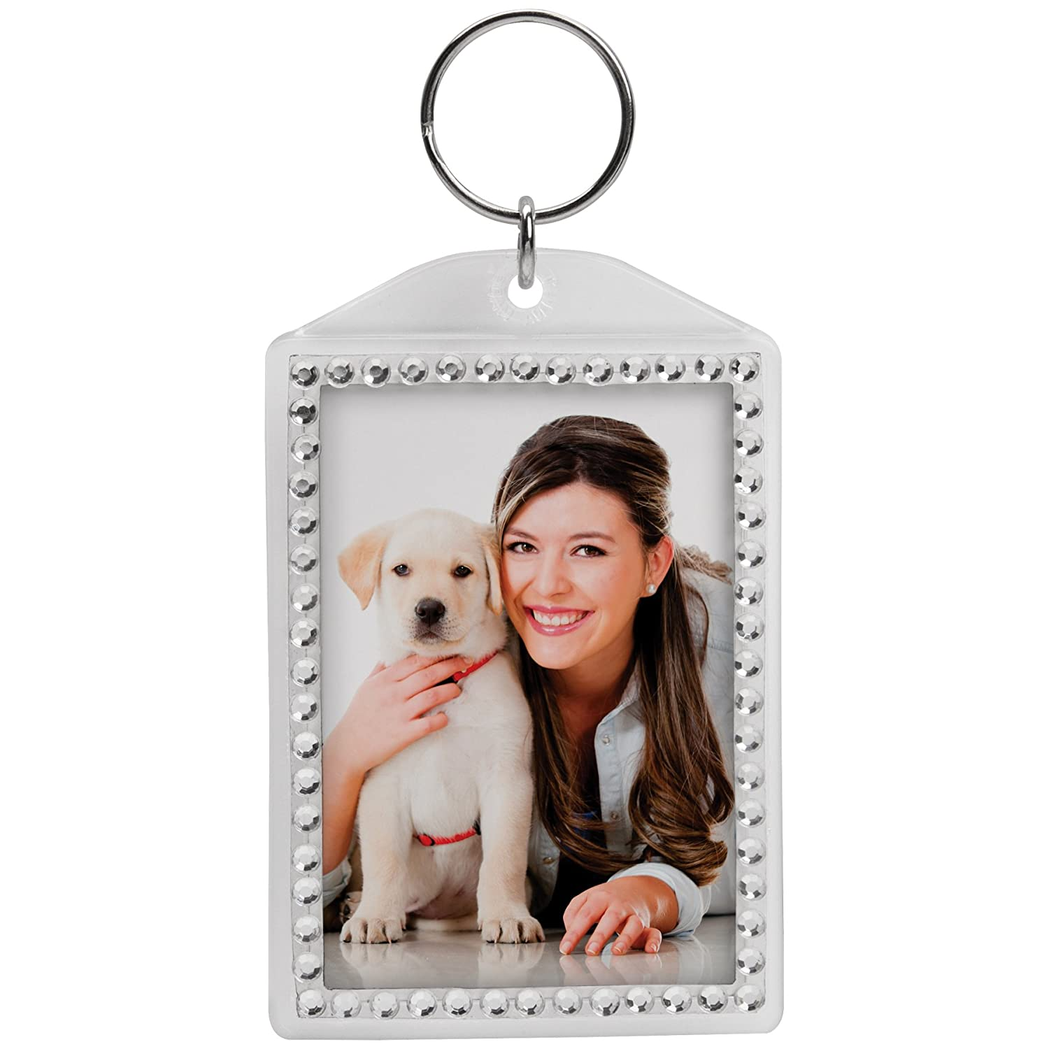 Rhinestone Acrylic Photo Snap-In Keychain (1) Neil Enterprises Inc.