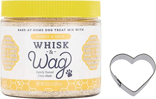 Whisk Wag Natural Dog Treat Baking Mix, 8.5 Ounce Jar of Honey and Oats for Healthy Skin, Coat and Digestive Health