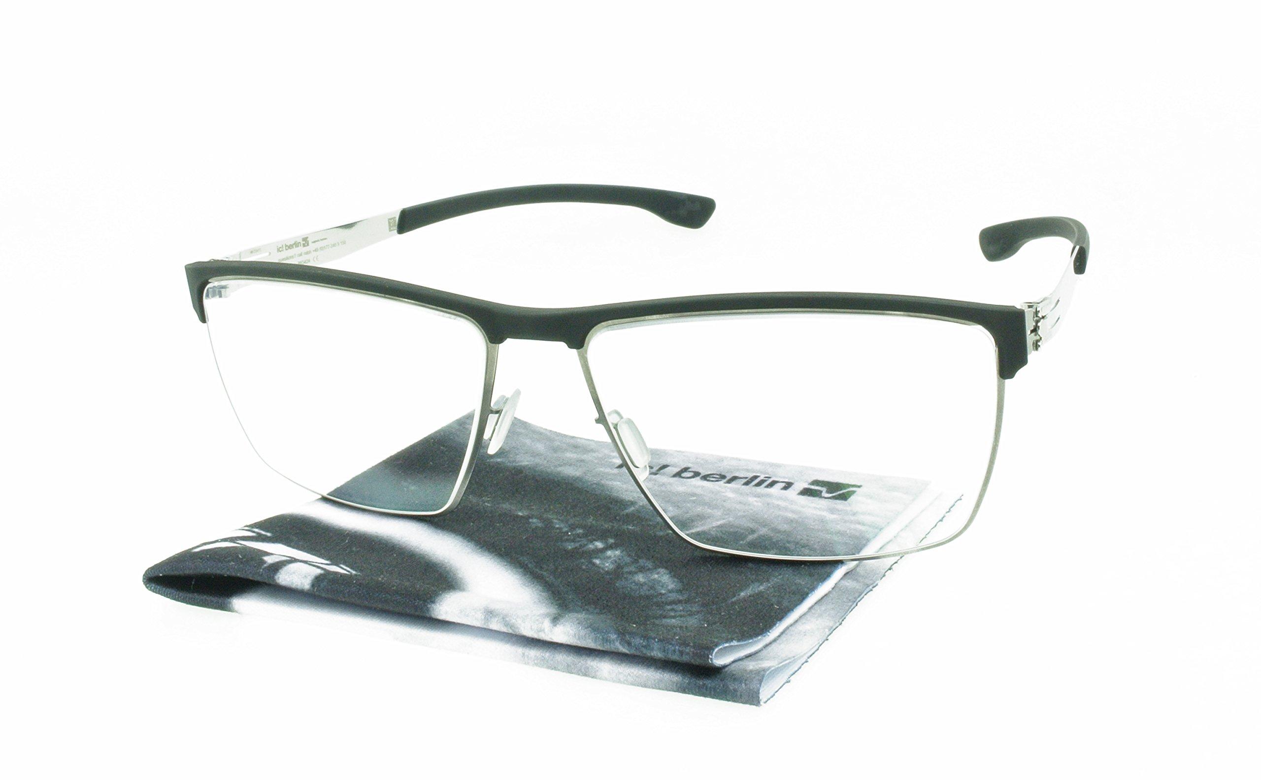Brand New Authentic ic! berlin eyeglasses Tommy G. Rectangular Metal Frames (Chrome & Black)