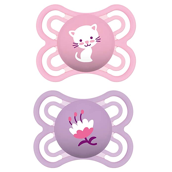 MAM Pacifiers, Baby Pacifier 0-6 Months, Best Pacifier for Breastfed Babies, Premium Comfort and Oral Care Perfect Collection, Girl, 2-Count
