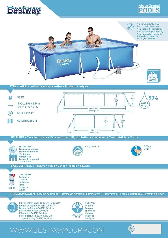 bestway steel pro frame pool set rechteckig blau 300 x 201 x 66 cm garten. Black Bedroom Furniture Sets. Home Design Ideas
