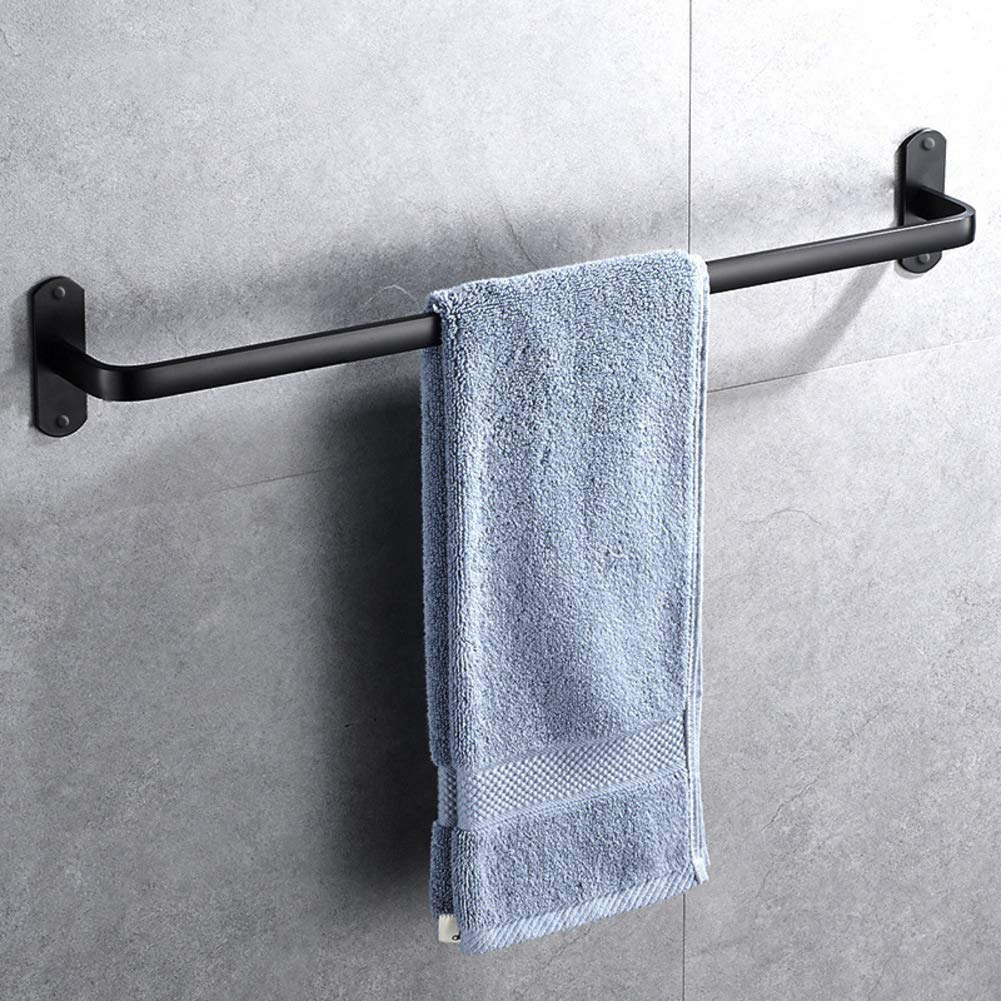 XJ&DD Drill Free Space Aluminum Towel Rack,Single Double Towel bar,Wall Mount Towel Rail,Black Polished Finish for Bathroom Kitchen Office-E 50cm(20inch)