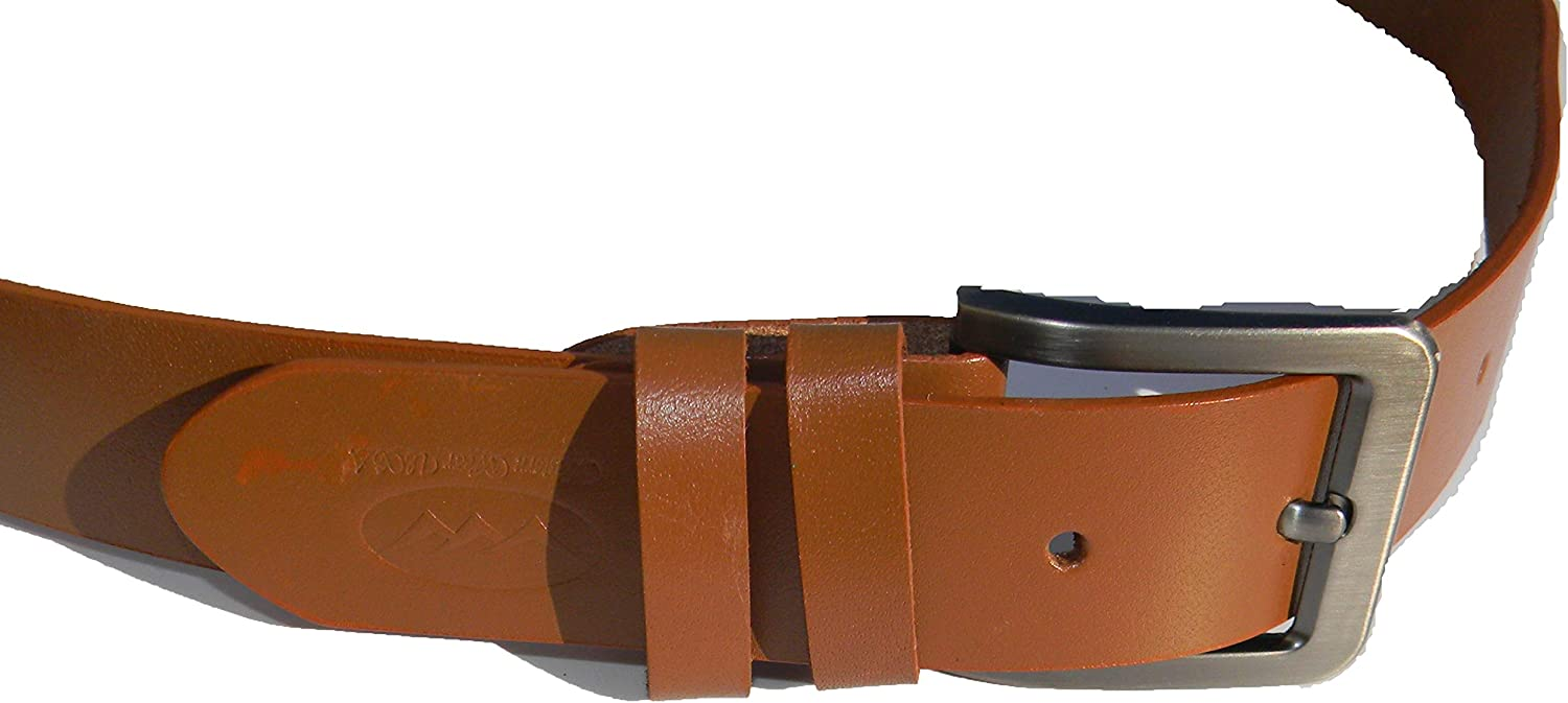 Camel Brown Leather Belt Full Grain Casual 1 1//2 Inch Wide Belt with Removable Buckle