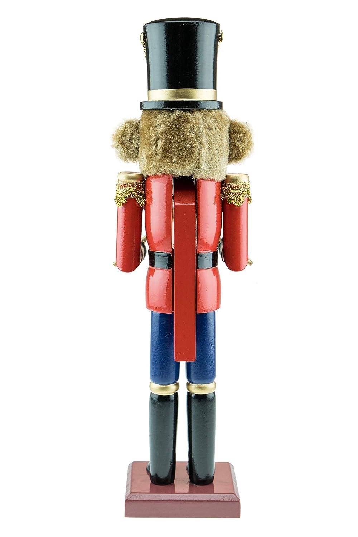 Holz Nussknacker als Trommler-Teddyb/är Festliche Weihnachtsdeko mit roter Jacke /& Blauer Hose 38,1 cm Clever Creations perfekt f/ür Regale /& Tische