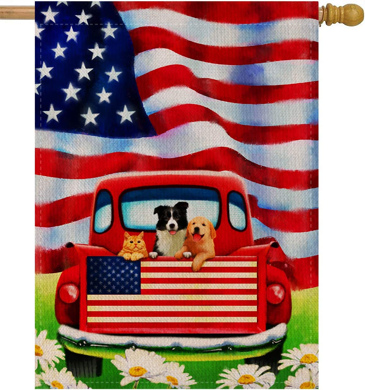 Dyrenson Home Garden Yard Decorative 4th Of July Dog Flowers House Flag Large Double Sided Burlap Rustic Farm Old Red Truck Daisy 28 X 40 Flag American Holiday Usa Seasonal Outdoor Décor Garden Outdoor