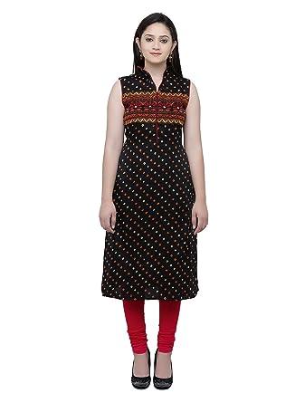 Srida Womens Black Orange Coloured Embroidery Kurti With Sleevs