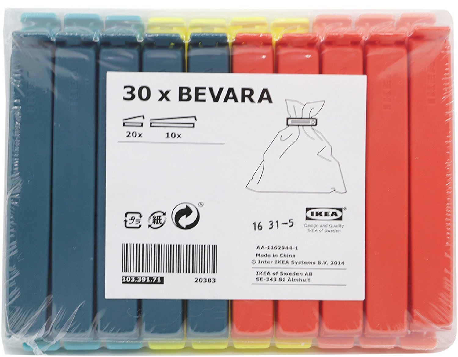 Ángel mall-ikea BEVARA bolsa Clips de sellado 30-Pack: Amazon.es ...