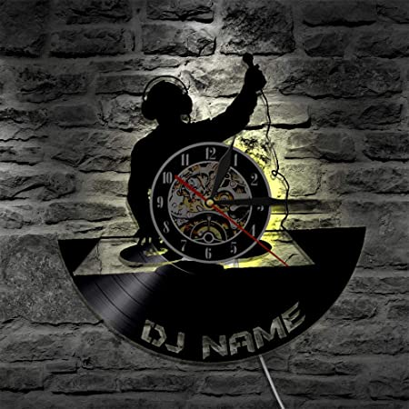 LTOOD Tocadiscos DJ Custom Wall Art Reloj de Pared DJ Your Name ...