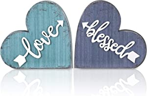 Jetec 2 Pieces Rustic Wooden Love Sign Heart-Shaped Wood Sign Wood Blessed Sign Decorative Love Heart Wood Sign for Holiday Home Kitchen Living Room Table Centerpiece Decor