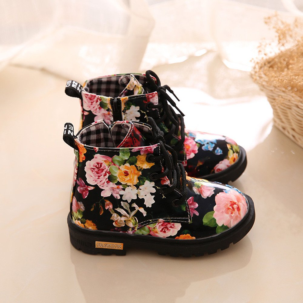 Lurryly Baby Kids Girls Martin Boots,Fashion Floral Shoes Children Boots 1-6 T by Lurryly (Image #3)