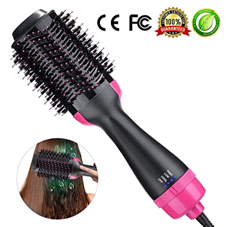 One-Step Hair Dryer Volumizer Styler Professional Salon Hot Air Brush Styler and Dryer 3-in-1 Negative Ion Straightener Oval Blower Hair Dryer for All Hair Types One-Step Hair Dryer