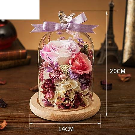 Cajas de vidrio de flor inmortal Flor rosa El regalo de ...