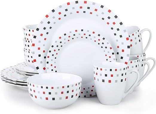 DOTS Kombiservice White Geschirr Serie 6er Set weiß Dekor Teller Tassen Müsli