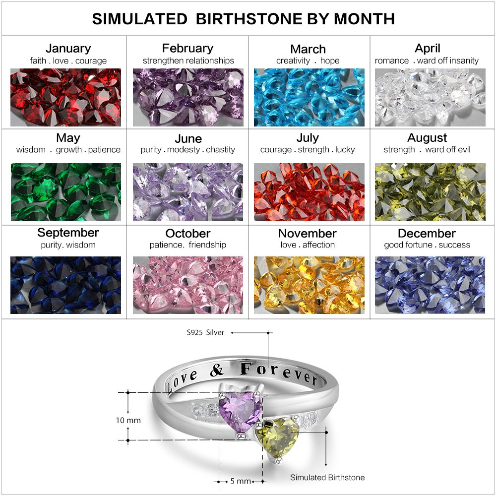 2 Simulated Birthstones Promise Rings for Her Love Forever Engraved Choose Your Color Engagement Rings (Jul-Sep, 7) by Diamondido (Image #2)