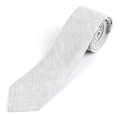 Men's Cotton Linen Skinny Necktie Tie Sand Wash Solor Color Pattern