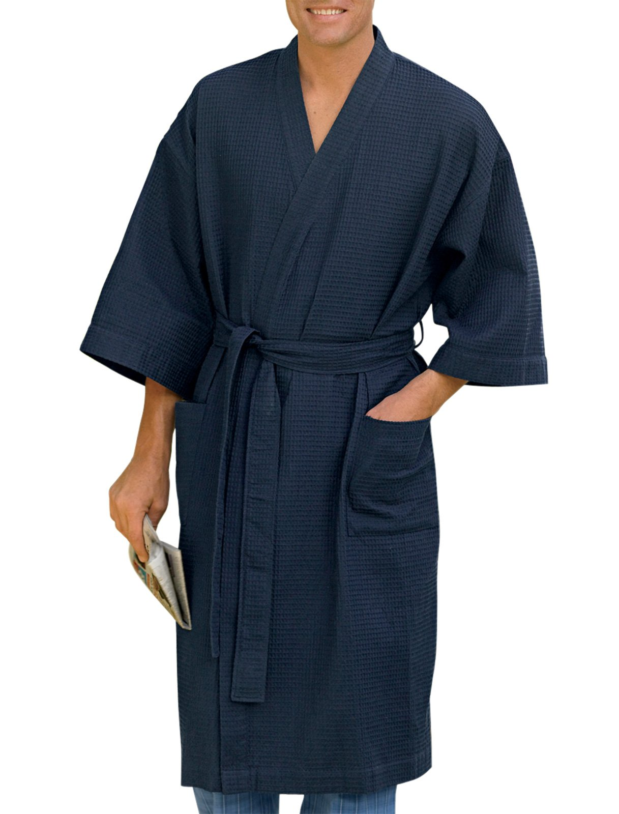 Harbor Bay by DXL Big and Tall Waffle-Knit Kimono Robe (3X/4X, Navy)