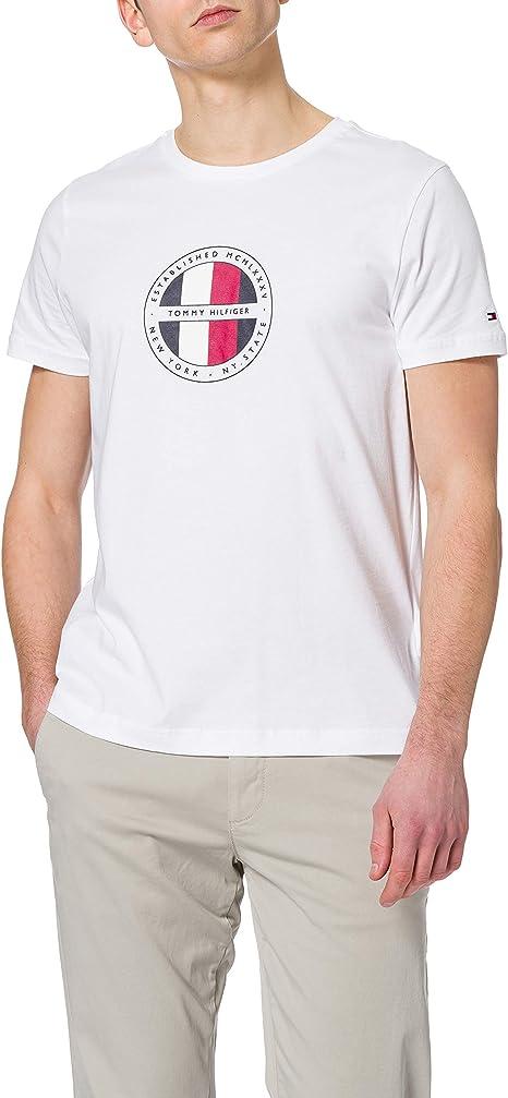 TALLA L. Tommy Hilfiger Circular Logo tee Camiseta para Hombre