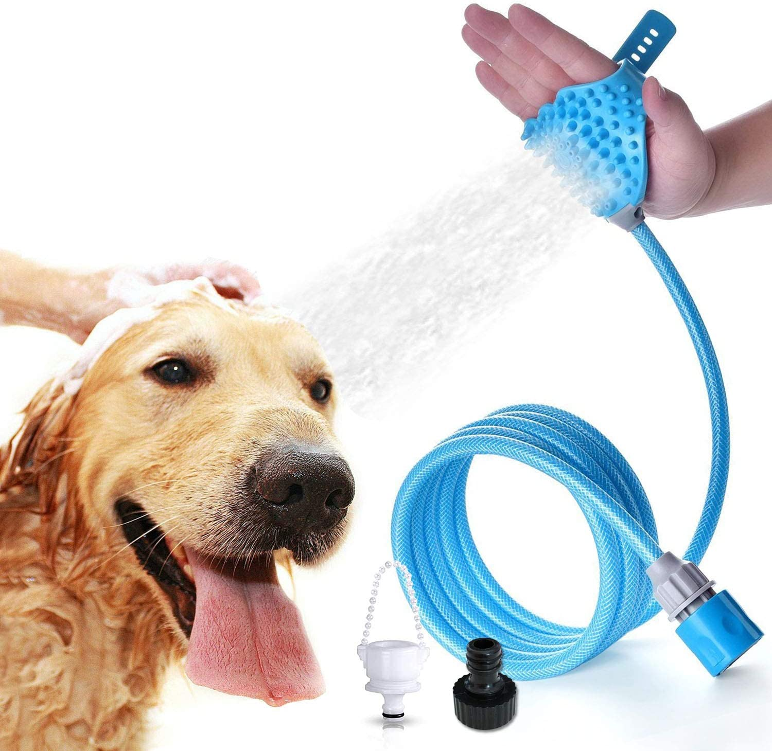 Pet Bathing Shower Sprayer Massage Scrubber in-One Carry, Adjustable Handheld Grooming Shower Head Brush for Bath Tub & Outdoor Garden Use with 2 Hose Faucet Adapter, Blue
