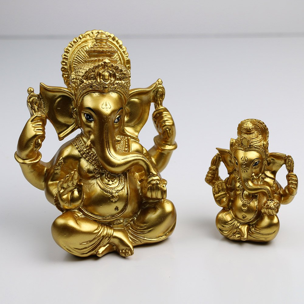 Gold Lord Ganesh Hindu Buddhist Hinduism Ganesha Yoga India Lucky Gifts Meditation Home Decorations (5.5''H)