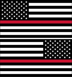 "Sticker American Flag Subdued Thin RED Line (Left-Right) USA Military Soldiers Ranger Rock Metal Heavy Decal Laptop Car Window Door Wall Motorcycle Helmet Set size 3"" x 5""inch"