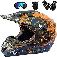 GWJ Adult Off Road Helm Dot Dirt Bike Motocross ATV Helm/Brille/Maske/Handschuhe