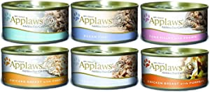 Applaws Mixed Pack Canned Cat Food 2.47 oz x 24 cans, Tuna Fillet, Ocean Fish, Tuna Fillet with Prawn, Chicken Breast with Cheese, Tuna Fillet with Cheese, Chicken Breast with Pumpkin