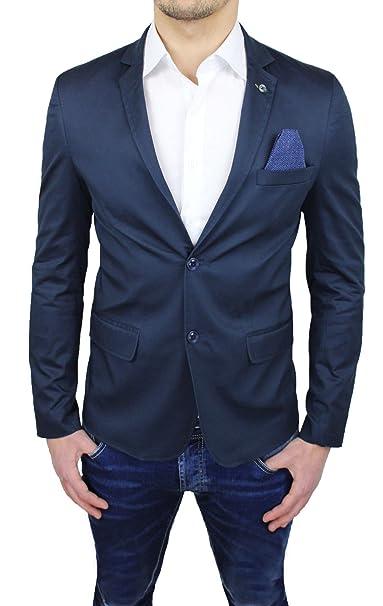 Giacca Sartoriale Uomo Blu Slim Fit casual elegante cerimonia estiva in  cotone  Amazon.it  Abbigliamento 5add240022d