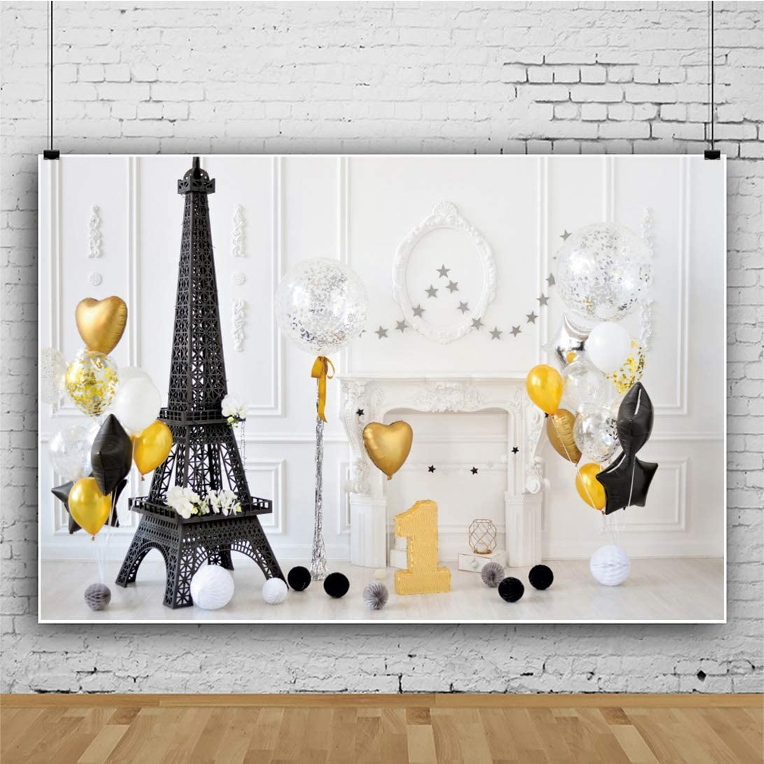 YEELE 7x5ft Happy 1st Birthday Backdrop Black Eiffel Tower and Golden Balloons Photography Background First Bday Party Decoration Son Daughter Artistic Portrait Photobooth Props