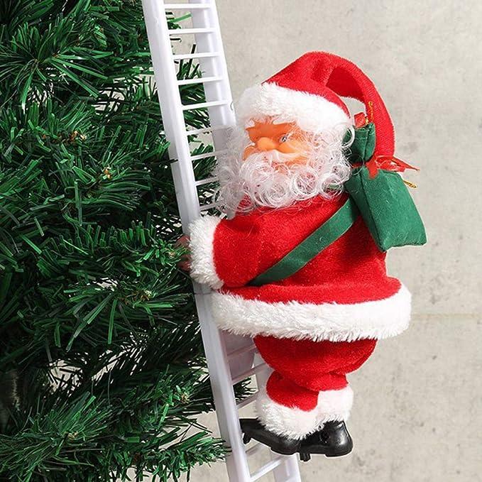 Ajboy - Figura Decorativa de Papá Noel con Escalera eléctrica para Escalada, 01, 20 * 12.5 * 15CM: Amazon.es: Hogar