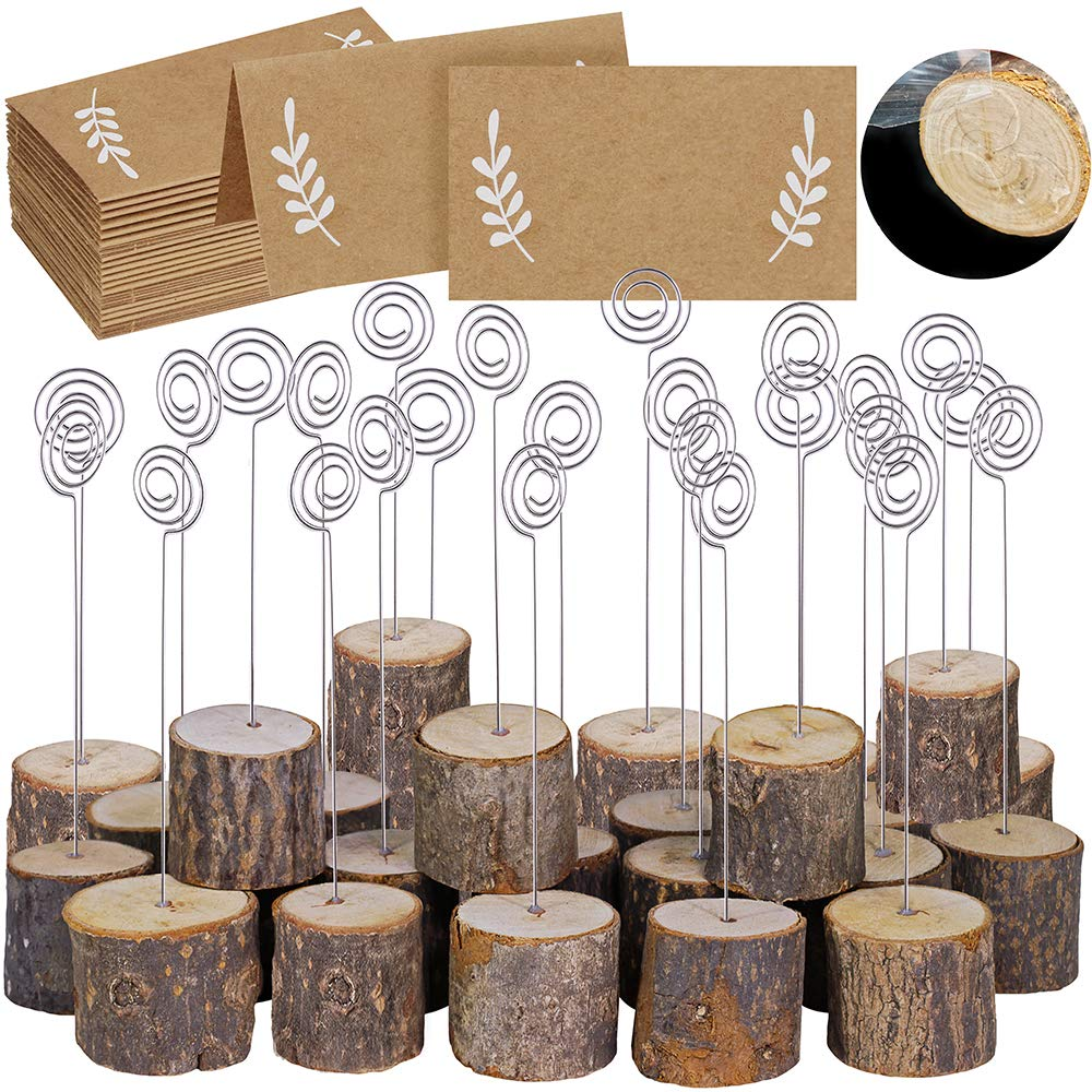 "30 Pcs Rustic Wood Place Card Holders with Swirl Wire Wooden Bark Memo Holder Stand Card Photo Picture Note Clip Holders 5.8"" and Kraft Place Cards Bulk for Wedding Party Table Number Name Sign"