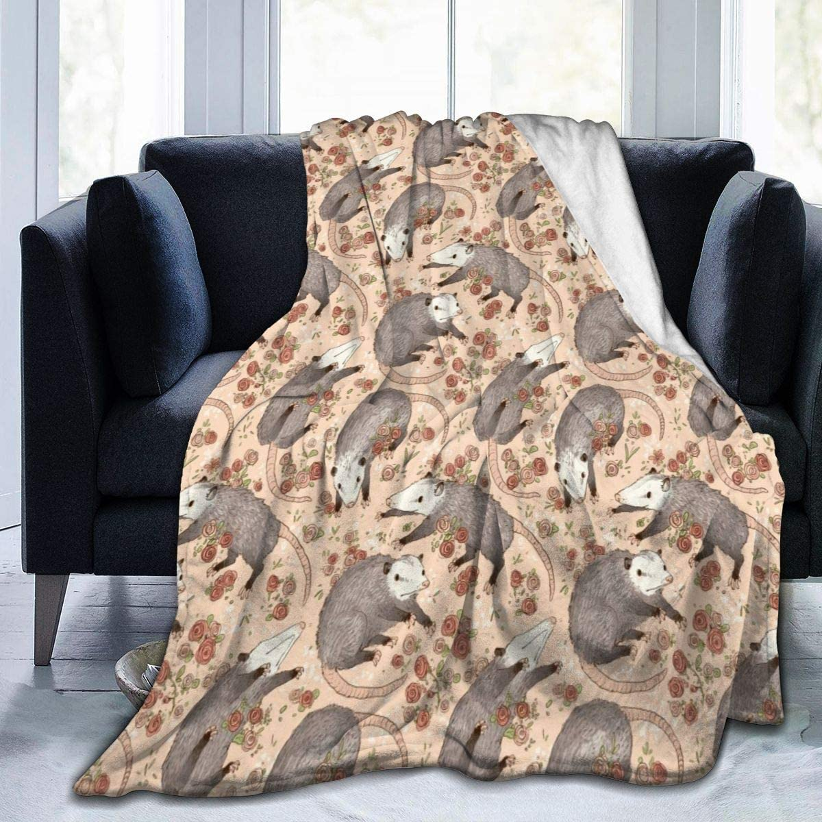 Large Throw Blanket Befuddled Possums Flowers Micro Fleece Blanket Comfy Premium Flannel Fleece Blanket Comfortable Thermal Blankets Durable Pad Bed Cover Warm Sofa Blanket for All Season
