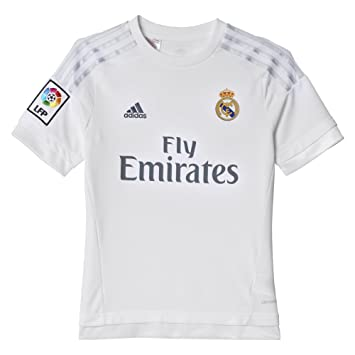 cd0b6c828a63 Adidas S12659 Maillot de football enfant Real Madrid domicile - Multicolore  (Blanc Argent)