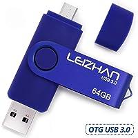 LEIZHAN Memoria USB 3.0 64GB,Pendrive OTG 2 in 1 USB Flash Stick para Samsung Huawei Android PC Tableta Mac -64GB(Azul)