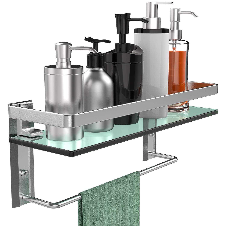 GeekDigg Bathroom Shelf, Tempered Glass Floating Shelves Wall Mounted Storage Shelves with Towel Bar (1 Tier) by GeekDigg