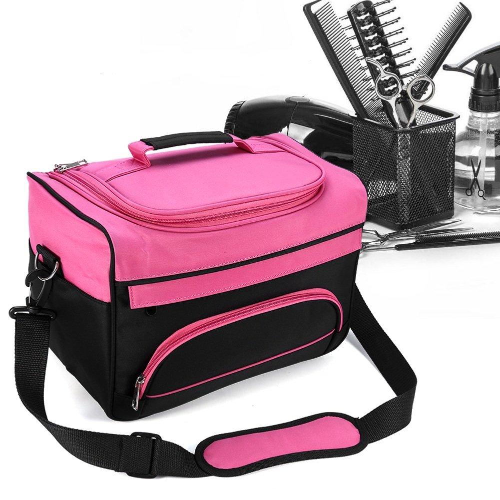 Bolsa profesional de herramientas de peluquería con correa para el hombro, bolsillos para accesorios e interior personalizable, ideal para secadores, planchas, rulos, pinzas y cepillos Brino