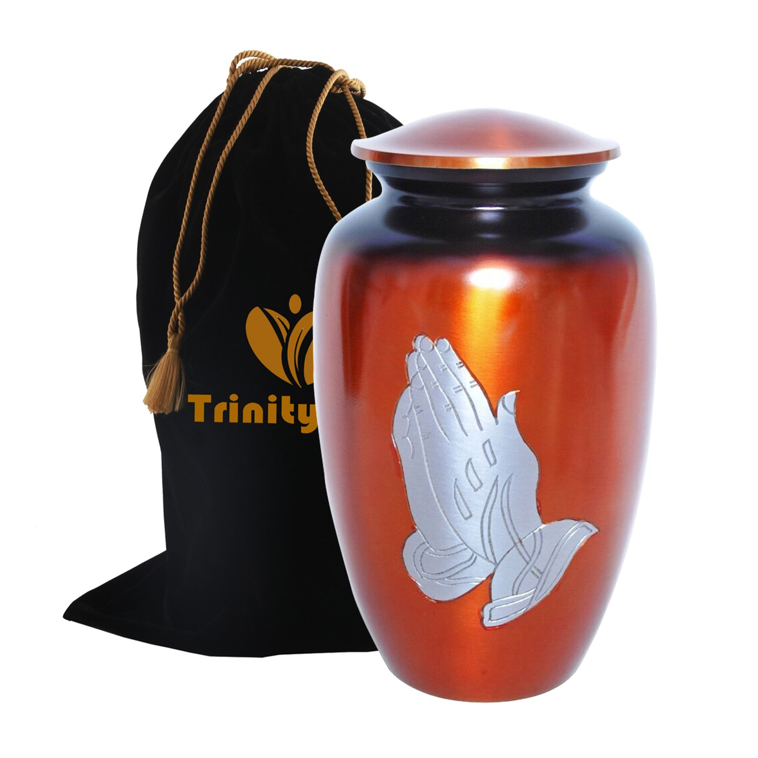 Praying Hand Cremation Urn - Beautifully Handcrafted Adult Funeral Urn - Solid Metal Funeral Urn - Affordable Urn for Human Ashes with Free Velvet Bag