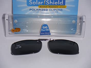 560626dd8f Image Unavailable. Image not available for. Color  Solarshield Polarized  Clip-on Sunglasses 56 Rec 15 Full Frame Gray Lenses