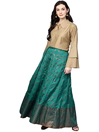 c0910d9156 Ahalyaa Indo Western Shirt with Brocade Like Skirt Set: Amazon.in: Clothing  & Accessories